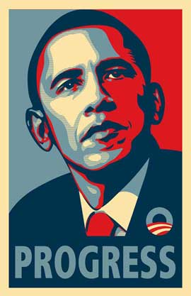 Barack Obama - RARE Campaign Poster - 11 x 17 Poster - PROGRESS