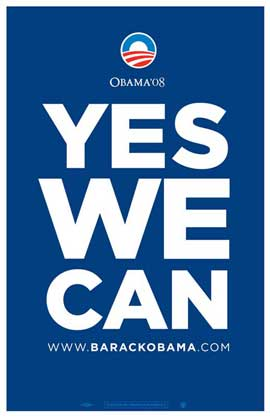 Barack Obama - (Yes We Can - Blue) Campaign Poster - 11 x 17