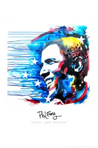 Barack Obama - (Stars and Stripes) Phil Fung - Art Poster - 24 x 36