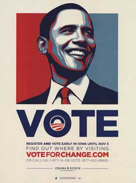 Barack Obama - (Vote For Change - Iowa) Campaign Poster - 18 x 24