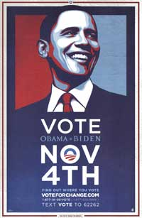 Barack Obama - (Vote for Change - Iowa - Blue) Campaign Poster - 16 x 24