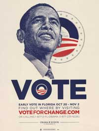 Barack Obama - (Vote for Change - Obama Logo - Florida) Campaign Poster - 18 x 24