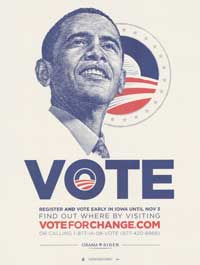 Barack Obama - (Vote for Change - Obama Logo - Iowa) Campaign Poster - 18 x 24