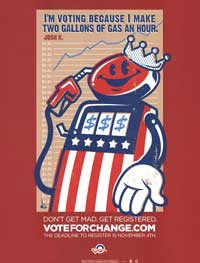 Barack Obama - (Vote for Change...I Make 2 Gallons of Gas an Hour) Campaign Poster - 18 x 24
