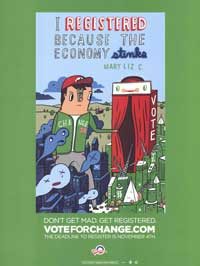 Barack Obama - (Vote for Change...the Economy Stinks) Campaign Poster - 18 x 24
