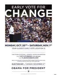 Barack Obama - (Early Vote for Change) Campaign Poster - 18 x 24