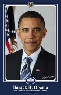 Barack Obama - 11 x 17 - Official Presidential Portrait - January 2009 - Style B - Blue