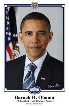 Barack Obama - 11 x 17 - Official Presidential Portrait - January 2009 - Style B - White