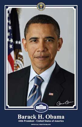 Barack Obama - 24 x 36 - Official Presidential Portrait - January 2009 - Style B - Blue