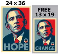 Barack Obama - RARE Campaign Poster - 24 x 36 Poster - HOPE - plus a FREE 13 x 19 CHANGE Poster