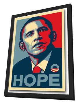 Barack Obama - RARE Campaign Poster - 11 x 17 Poster - HOPE - in Deluxe Wood Frame