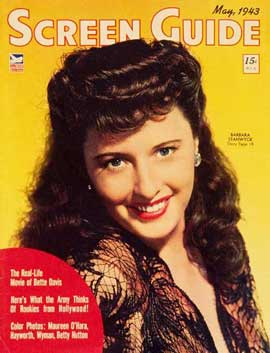 Barbara Stanwyck - 27 x 40 Movie Poster - Screen Guide Magazine Cover 1940's