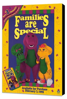 Barney:  Families Are Special - 11 x 17 Movie Poster - Style A - Museum Wrapped Canvas