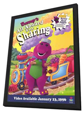 Barney's All Aboard For Sharing - 11 x 17 Movie Poster - Style A - in Deluxe Wood Frame