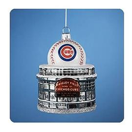 Baseball - MLB Cubs Logo Wrigley Field with Ball Ornament