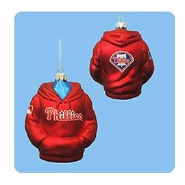 Baseball - MLB Phillies 4 1/2-Inch Hoodie Sweatshirt Glass Ornament