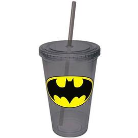 Batman - Gray Plastic Cup with Straw