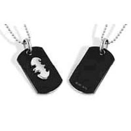 Batman - Silver Emblem Black Dog Tag Necklace
