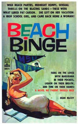 Beach Binge - 11 x 17 Retro Book Cover Poster