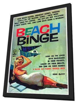 Beach Binge - 11 x 17 Retro Book Cover Poster - in Deluxe Wood Frame