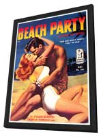 Beach Party - 11 x 17 Retro Book Cover Poster - in Deluxe Wood Frame