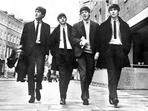 Beatles - Beatles Group Picture Walking on the Street in Black Coat and White Collar Shirt with Necktie