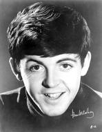 Beatles - Beatles smiling in Black and White with Signature
