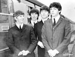 Beatles - Beatles Group Picture standing Besied a Train in Black and Grey Suit