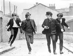 Beatles - Beatles Running on the Street laughing in Black Suit and Black Wool Cap