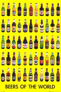 Beers Of The World - Party/College Poster - 24 x 36 - Style C
