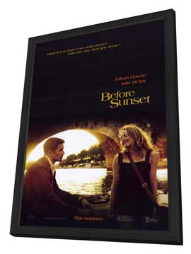 Before Sunset - 11 x 17 Movie Poster - Style A - in Deluxe Wood Frame