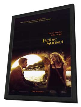Before Sunset - 27 x 40 Movie Poster - Style A - in Deluxe Wood Frame