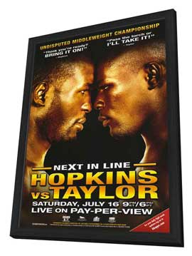 Bernard Hopkins vs. Jermain Taylor - 11 x 17 Boxing Promo Poster - Style A - in Deluxe Wood Frame