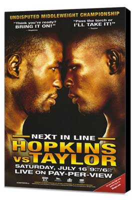 Bernard Hopkins vs. Jermain Taylor - 11 x 17 Boxing Promo Poster - Style A - Museum Wrapped Canvas