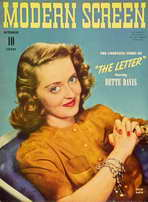 Bette Davis - 11 x 17 Modern Screen Magazine Cover 1940's