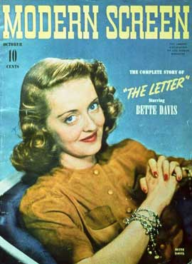 Bette Davis - 27 x 40 Movie Poster - Modern Screen Magazine Cover 1940's