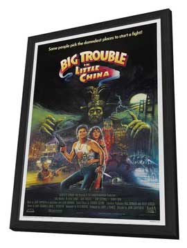 Big Trouble in Little China - 27 x 40 Movie Poster - Style C - in Deluxe Wood Frame