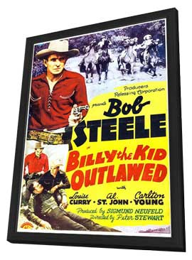 Billy the Kid Outlawed - 27 x 40 Movie Poster - Style A - in Deluxe Wood Frame
