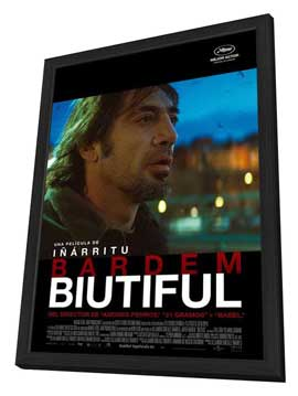 Biutiful - 11 x 17 Movie Poster - Spanish Style B - in Deluxe Wood Frame