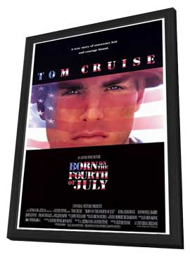 Born on the Fourth of July - 27 x 40 Movie Poster - Style A - in Deluxe Wood Frame
