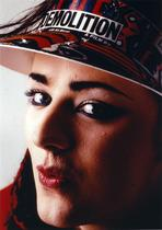 Boy George - Boy George Woman's with Pouty Lips wearing Sun Visor Cap Close Up Portrait
