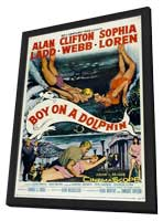 Boy on a Dolphin - 27 x 40 Movie Poster - Style A - in Deluxe Wood Frame