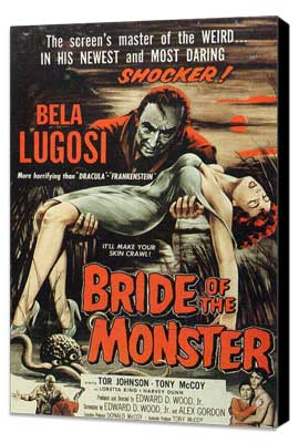 Bride of the Monster - 27 x 40 Movie Poster - Style B - Museum Wrapped Canvas