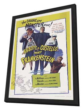 Bud Abbott Lou Costello Meet Frankenstein - 11 x 17 Movie Poster - Style B - in Deluxe Wood Frame
