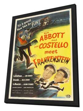 Bud Abbott Lou Costello Meet Frankenstein - 11 x 17 Movie Poster - Style E - in Deluxe Wood Frame