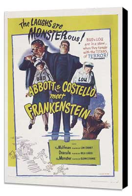 Bud Abbott Lou Costello Meet Frankenstein - 11 x 17 Movie Poster - Style B - Museum Wrapped Canvas