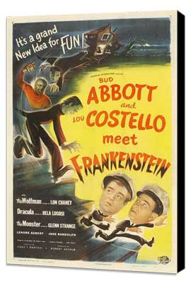 Bud Abbott Lou Costello Meet Frankenstein - 27 x 40 Movie Poster - Style E - Museum Wrapped Canvas