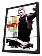 Bullitt - 11 x 17 Movie Poster - French Style B - in Deluxe Wood Frame