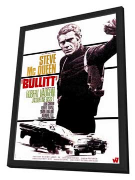 Bullitt - 27 x 40 Movie Poster - French Style B - in Deluxe Wood Frame