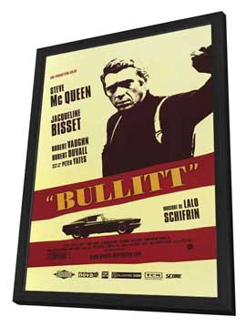 Bullitt - 27 x 40 Movie Poster - French Style A - in Deluxe Wood Frame